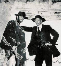 Lee Van Cleef poses with Clint Eastwood on location in Spain - Directed by Sergio Leone - Publicity Still. Lee Van Cleef, Scott Eastwood, Classic Hollywood, Old Hollywood, Hollywood Stars, Hollywood Actresses, O Cowboy, Peliculas Western, Westerns