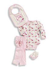 Infant Girls Four Piece Bodysuit Set