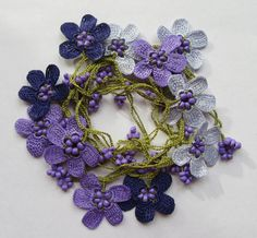 Oya necklace, Turkish Oya necklace, crochet flower necklace, beaded lariat necklace, daisy necklace, flower necklace