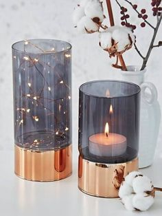 Copper And Smoked Glass Tealight Hurricanes - These are so pretty. Home Decor Accessories, Decorative Accessories, Fairy Lights, Tea Lights, Decoration Inspiration, Decor Ideas, Diy Home Decor, Bedroom Decor, Bedroom Lamps