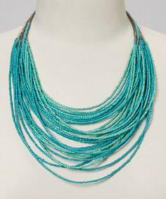Turquoise Beaded Multi-Strand Bib Necklace