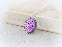 Pink flower violet cameo  polymer clay pendant  от Nikita551, €18.00