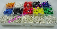 2590pcs/set 8 Color 15 size Twin Cord End Terminals Electrical Crimp Crimper cord wire end  insulated terminal block