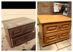 Refinished, painted, distressed chest. Mustard yellow milk paint. Furniture project. DIY furniture. Before and after
