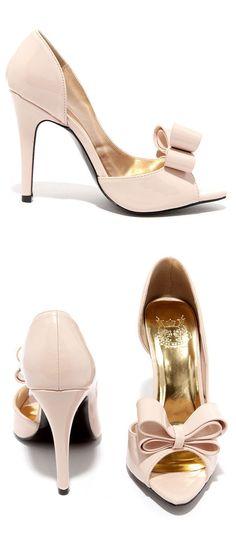 Blush D'Orsay Bow Pumps ღ #wedding #shoes #inspiration