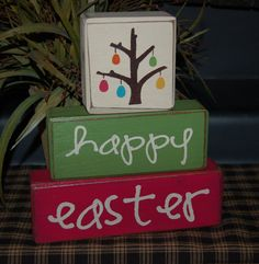 Happy EASTER NEW Designs Happy Easter Egg Tree Holiday Seasonal Wood Sign Shelf Sitter Blocks Primitive Country Rustic Home Decor -- Etsy