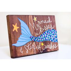 Mermaid painting mermaid art on wood mermaid quote by ArtBySharell