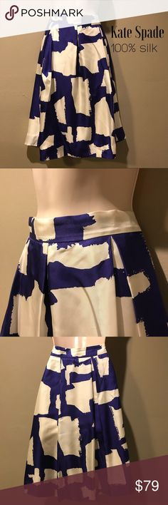 Kate Spade 100% Silk Pleated Skirt, size 12 In excellent preowned condition, beautiful full, pleated skirt by Kate Spade.  Fully lined. Size is 12 kate spade Skirts A-Line or Full