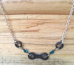 Short Upcycled Bicycle Chain Necklace with Vintage Swarovski