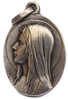 Our Lady Virgin Mary portrait and the Lourdes cave on the back. It is signed and designed by the master medallist Escuedro. Madonna, Catholic Medals, Lourdes, Small Words, Bronze Sculpture, Virgin Mary, Our Lady, Portrait, French Antiques