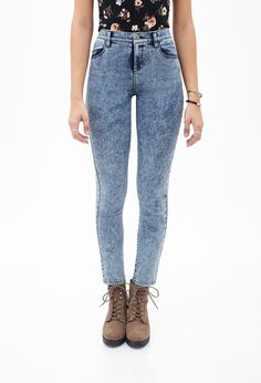 High-Rise - Mineral Wash Skinny Jeans | FOREVER21 - 2000085080