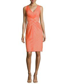 Tadashi Shoji Sleeveless Cocktail Dress with Mesh Accents, Saffron