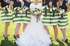 Bridesmaids in Striped Skirts