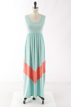 Image of Sleeveless Chevron Maxi Dress - Mint/Pink