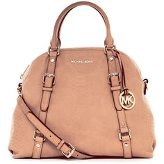 PURSES!!! MICHAEL Michael Kors Bedford Extra-Large Bowling Satchel, Nude Matte Python-Embossed Leather found on Polyvore