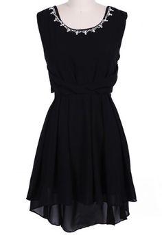 #SheInside Black Sleeveless Rhinestone High Low Chiffon Dress
