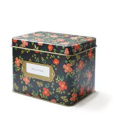 Midnight Garden Tin Recipe Box – Paper Luxe