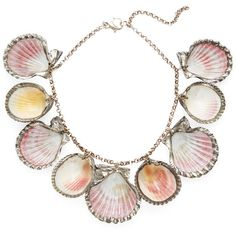 Paolo Costagli Women's Sterling Silver Dipped Sea Shell Necklace (131,390 INR) ❤ liked on Polyvore featuring jewelry, necklaces, accessories, no color, long station necklace, seashell necklace, long necklaces, sterling silver necklace and long pendant