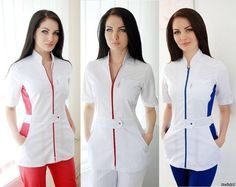 медицинские халаты модный доктор - Поиск в Google Dental Uniforms, Healthcare Uniforms, Work Uniforms, Salon Uniform, Spa Uniform, Scrubs Uniform, Nursing Dress, Nursing Clothes, Blouse Nylon