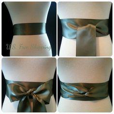 Willow green Ribbon sash. Moss green Ribbon sash. Double faced satin sash. Satin Bridal sash. Simple sash. Bridesmaid satin sash