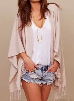 Sexy cut off blue jeans shorts, street style, white tank, and fringe wrap. Tiny long gold chain ties this summer outfit together. #fashion #style