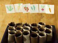 Toiletrolletjes zijn gemakkelijk te gebruiken om binnen groenten voor te zaaien. Herb Garden, Vegetable Garden, St Bens, Square Foot Gardening, Plantation, Edible Garden, Green Life, Permaculture, Diy Crafts For Kids