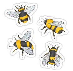 Because of the frankly ridiculous (and amazing) number of people who have purchased this design as a sticker, I have made each individual bee as its own sticker design, in case you want a bigger version of all four, or prefer one lone bee! Bubble Stickers, Phone Stickers, Journal Stickers, Cool Stickers, Printable Stickers, Aesthetic Stickers, Blue Butterfly, Mellow Yellow, Sticker Design