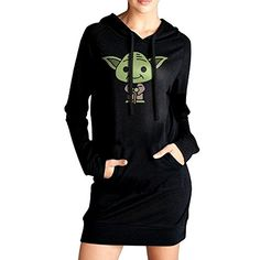 Elva Women Old Cartoon Cute People Sweatshirt Dress Pockets Tunic Top S Black * Be sure to check out this awesome product. (This is an affiliate link) #ExerciseandFitnessWomensClothing