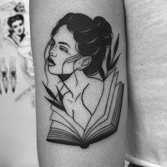 Book is one of the most popular ideas in term of tattoo designs among the book lovers. Mini Tattoos, Pin Up Tattoos, Black Tattoos, Body Art Tattoos, Sleeve Tattoos, Black Work Tattoo, Tatoos, Tattoo Designs For Girls, Tattoo Girls