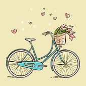 Stock Illustration of Vintage bicycle with flowers - Search Clip Art, Drawings, Fine Art Prints, Illustrations, and Vector EPS Graphics Images - Bicycle Drawing, Bicycle Tattoo, Bike Art, Vintage Bicycles, Vintage Bicycle Art, Art Images, Vector Art, Vector Illustrations, Doodles