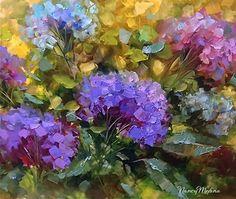 Morning Garden Azure Blue Hydrangeas  by Nancy Medina