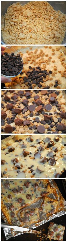 Reeses Peanut Butter Cup Cookie Bars ~ so delicious  easy to make... They are so much faster than making individual cookies. Just put it all in the pan and bake. Would be perfect for family gatherings after supper!