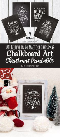Need a final touch for your Christmas mantel or special place in your home? These cute FREE Chalkboard Art Christmas Printables will Rock your frames! You have 4 designs to choose from and Believe in the Magic of Christmas this season! Christmas Mantels, Christmas Signs, Christmas Projects, All Things Christmas, Holiday Crafts, Holiday Fun, Christmas Holidays, Christmas Decorations, Xmas