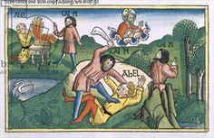 Genesis 4:8 Cain murders Abel, from the 'Nuremberg Bible (Biblia Sacra Germanaica)' (coloured woodcut), 1483
