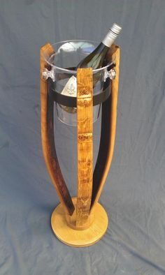 Oak barrel stave ice bucket stand with solid oak base and original (re-sized) barrel hoop.