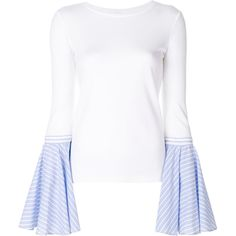 Dondup contrast flared-sleeve sweater (3.630.790 IDR) ❤ liked on Polyvore featuring tops, sweaters, white, flared sleeve top, dondup, bell sleeve sweaters, white flared sleeve top and white sweater