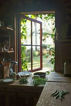 lovely rustic little prep station with views of greenery, can imagine as part of a little cabin somewhere