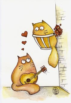 VALENTINE MEOWS  Limited Edition print 7 x 9 by Catswithattitude, $9.99