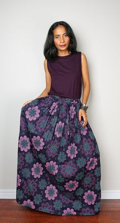 Blue Skirt with Purple Foral Print Boho Maxi Skirt : by Nuichan