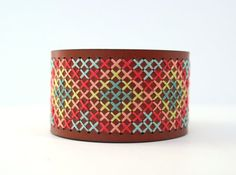 Leather Bracelet cross stitch Coral and Aqua by notsomodernmillie