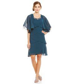 Mid Teal:S.L. Fashions Beaded Tulip Tier Chiffon Jacket Dress