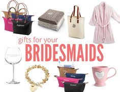 personalized gifts for your bridesmaids from Things Remembered // totes, blankets, robes, purses, wine glasses, bracelet, coffee bug, cosmetic bag