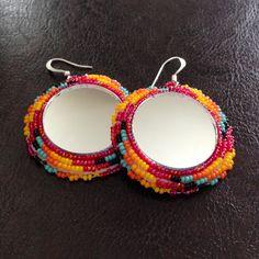 Native American Beaded Mirror Earrings by crystaltewa on Etsy, $25.00