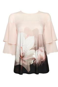 Pale Pink Floral Print Sheer Frill Top