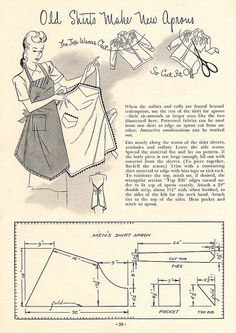 Repurposing clothes was a way of life: Old Shirts Make New Aprons sewing pattern; from the 1945 booklet, Aprons and Bibs, from the American Thread Company