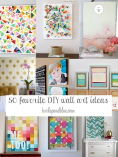 List of 50 DIY wall art tutorials. Lots of wall decor ideas and crafts!
