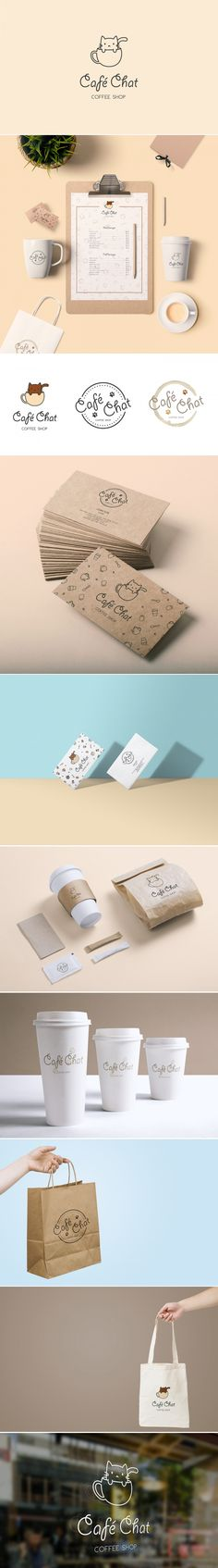 Café Chat is a faux branding of a cat café. The coffee shop's identity is minimal but with a cute look to it. Monoline widths help add a cute, but simple, look to the brand. Coffee Shop Branding, Cafe Branding, Cafe Logo, Restaurant Branding, Restaurant Marketing, Cat Design, Book Design, Graphic Design, Packaging Design