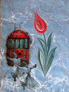 Ebru üzerinde lale motifi, semazen ve İstanbul'un nostaljik tramvayı figürü.
