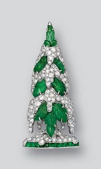 ATTRACTIVE EMERALD AND DIAMOND BROOCH, CIRCA 1930 – Sotheby's Designed a snow-covered pine tree made of carved and calibré-cut emeralds and circular- and single-cut diamonds