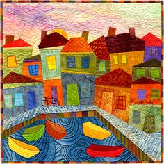Quilt Art - Judith Reilly - Little Boats  I know this gal...she was in my quilt guild back in the '90's.  Just love her new style!